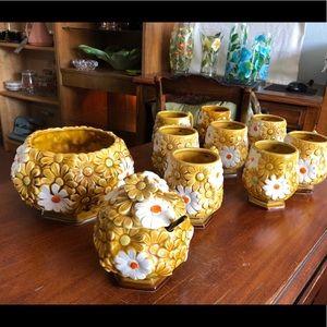 Other - Retro Gold Ceramic Daisy (10) Piece Set. Japan